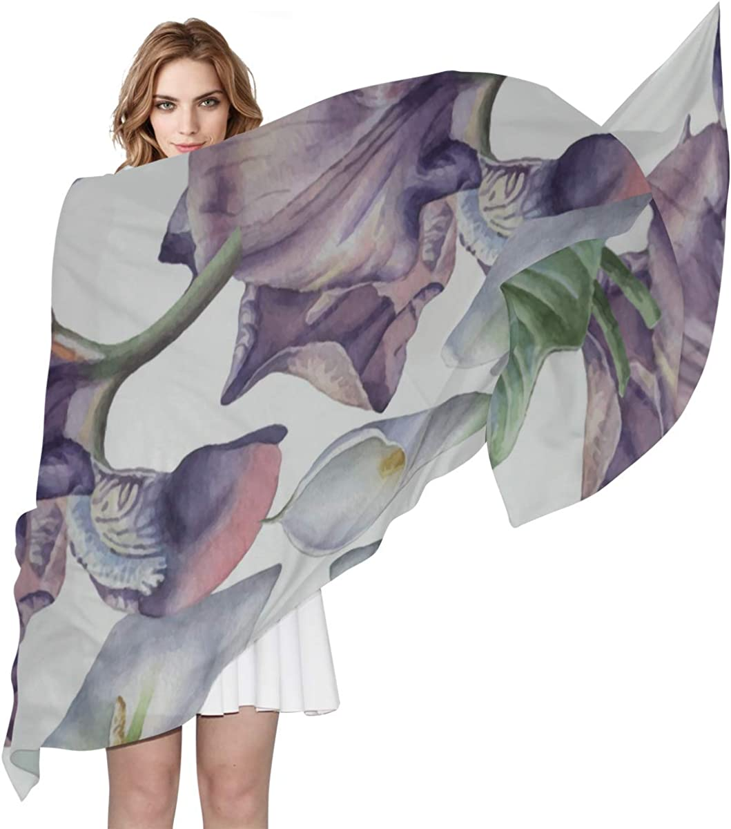 Mens Lightweight Scarf Pure White Noble Flower Calla Lily Scarf For Boys Wrap Women Shawl Lightweight Print Scarves Summer Scarf Women Fashion Scarf For Women