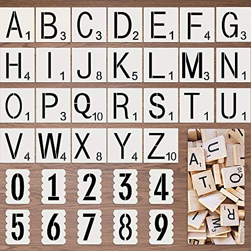 Letter Stencils for Painting on Wood,Reusable Scrabble Letters for Wall Decor, Alphabet Stencils with Calligraphy Font Upper and Numbers and Signs Art Craft Stencils