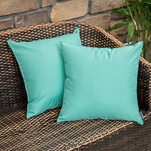 MIULEE Pack of 2 Decorative Outdoor Waterproof Pillow Covers Square Garden Cushion Sham Throw Pillowcase Shell for Patio Tent Couch 18x18 Inch Light Green