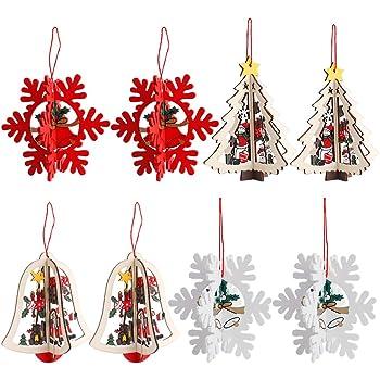 3D Decoración del árbol de Navidad, 8 Pack Adornos de árbol de Navidad, Colgantes de Madera Hechos a Mano Navidad Santa Claus Christmas Tree Sled Snowman: Amazon.es: Hogar