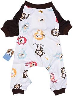 a041507468b1a Oshide Singe Mignon Animal Vêtements pour Chien Pyjama Chemise Coton Doux  Jumpsuit, XS - XL