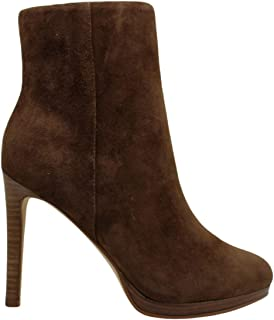 NINE WEST Womens Querida Platform Booties Leather Almond Toe, Brown, Size 7.5