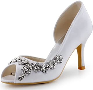 ElegantPark Women Peep Toe Rhinestones Pumps High Heel Satin Evening Prom  Wedding Shoes f43348e3803