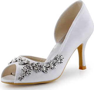 Best white satin heels with rhinestones Reviews