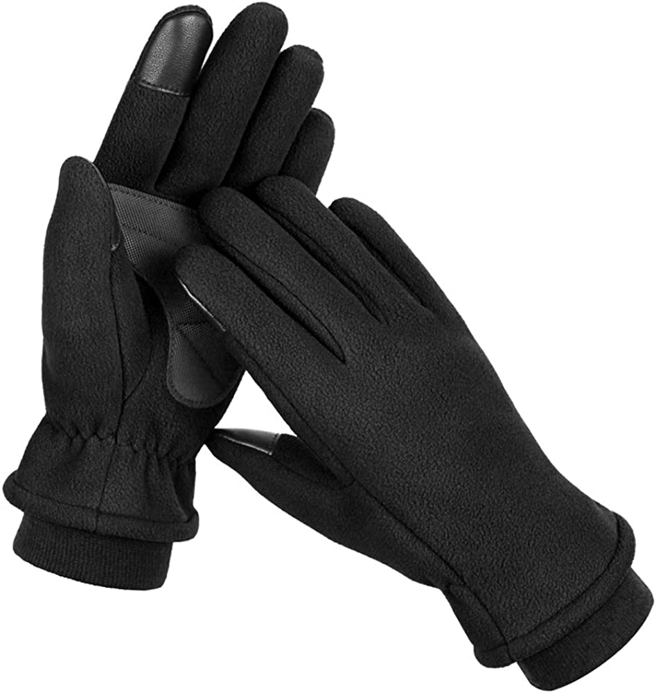 Winter Gloves for Men and Women, Windproof & Water Resistant Touch Screen Fleece Gloves for Running, Cycling, Driving