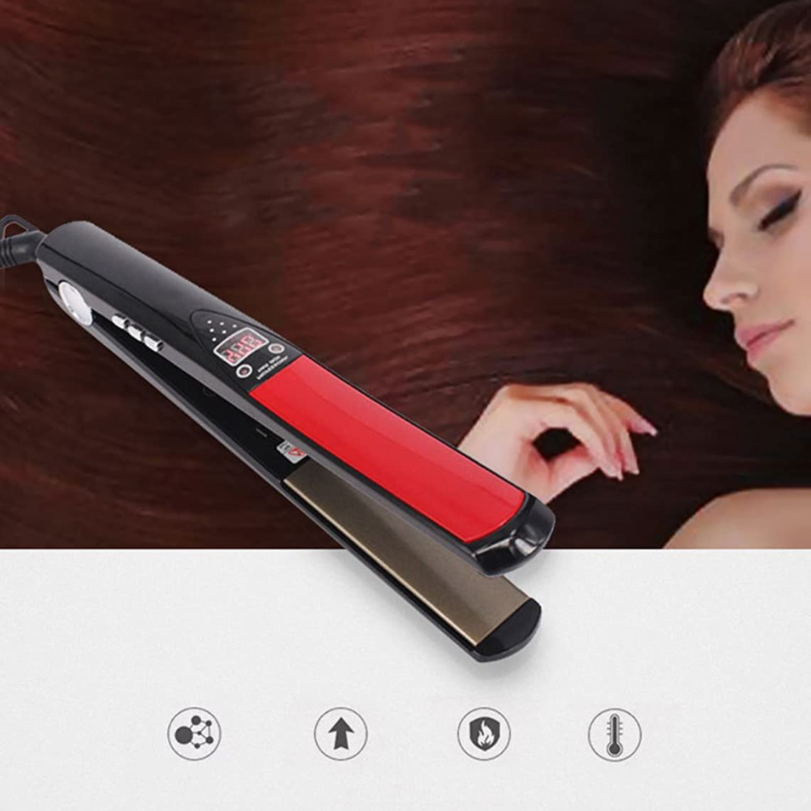Hair Straightener Negative Ions Iron, 2 In 1 Electric Stone Ceramic Curling Straight Hair Dual Use Fast Heating Auto Shut Off Dual Voltage For Home Or Travel Use