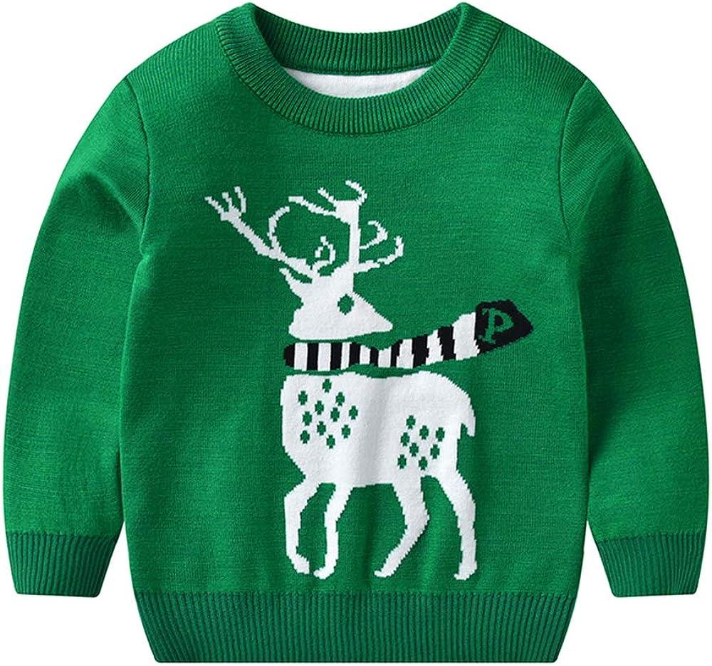 Kids Toddler Boys Girls Clothes Christams Long Sleeves Knitted Sweatshirt Elk Deer Xmas Gift Print Top Shirt Outfits