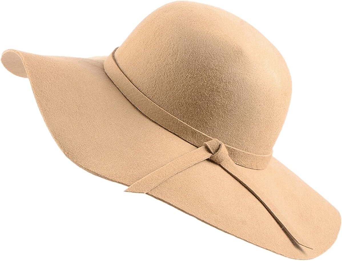 Urban CoCo Women's Foldable Wide Brim Felt Bowler Fedora Floopy Wool Hat