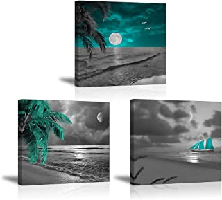 Tku's Teal Coastal Beach Canvas Wall Art, Moon and Boat on Sea Pictures, 3 Pieces Painting Home Decor for Bedroom Living Room, Framed Ready to Hang (Waterproof)