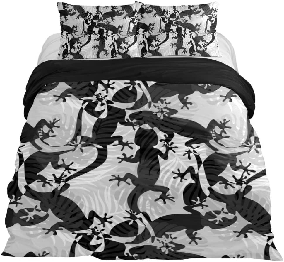 Abstract Tropical Lizards and Palm 本日限定 OUTLET SALE Leaves Bedding Piece 3 Duvet