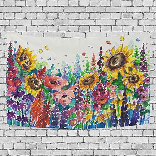 JXZIARON Tapiz Art Paño para Colgar en la Pared Impresión HD Cocina Dormitorio Sala de Estar Decoración,Fondo Exclusivo de Flores abstractas de Verano en el jardín para 60x40 Pulgadas-B2