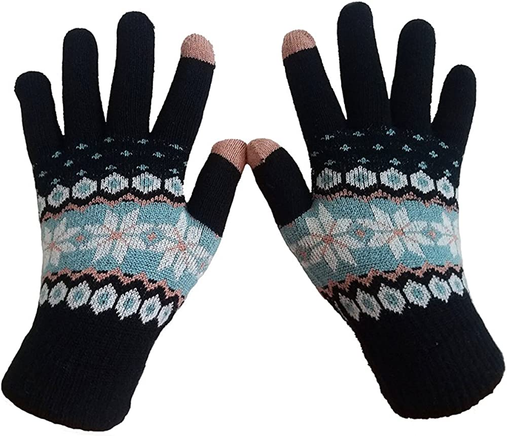 Women Girls Thick Knit Gloves Winter Warm Colorful Snowflake Deer Gloves