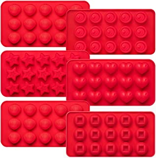 Kootek 6 Pieces Silicone Chocolate Molds, Reusable 90 Cavity Candy Making Mold Ice Cube Trays Candies Making Supplies for Chocolates Hard Candy Cake Decoration Soap Crayons Candles (Red)