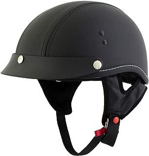 Outlaw T70 'Dark Rider' Black Leather Like Half Helmet with Snap Visor - Small