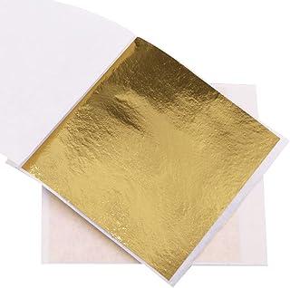 "VGSEBA Gold Leaf Gilding Sheets,100 Sheets 3.15"" by 3.35"" Foil B Gold Foil Paper for Paintings, Arts Crafts, Nail Deco,Fur..."