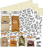 528 Labels: 484 Spice Names + 44 Blank Labels | Most Cursive Preprinted Black & White Letters Label Set | Alphabetized Spice Label System by KITCHEN ALMIGHTY | Spice Jar Labels Spice Rack Organization