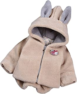 TAIYCYXGAN Baby Girls Winter Fleece Coat Rabbit Faux Fur Hoodies Jacket Bunny Ear Hat