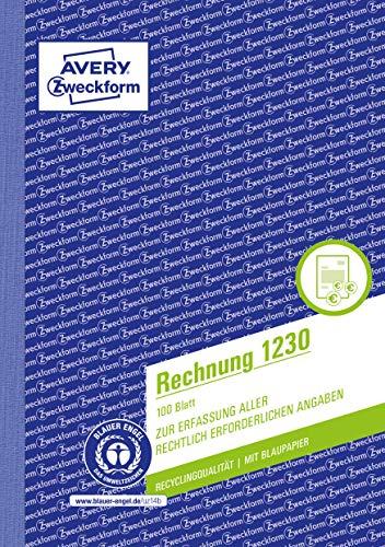 AVERY Zweckform 1230 Rechnung (A5, 100 Blatt, aus Recycling-Papier, mit 1 Blatt Blaupapier, mit Netto- und Bruttobetrag, MwSt. uvm., zur Erfassung aller rechtlich erforderlichen Angaben) weiß