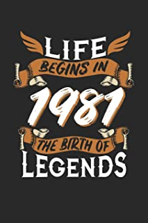 LIFE BEGINS IN 1981 THE BIRTH OF LEGENDS: 6x9 inches blank notebook, 120 Pages, Composition Book and Birthday Journal, 1981 birthday, alternative gift idea for an legend