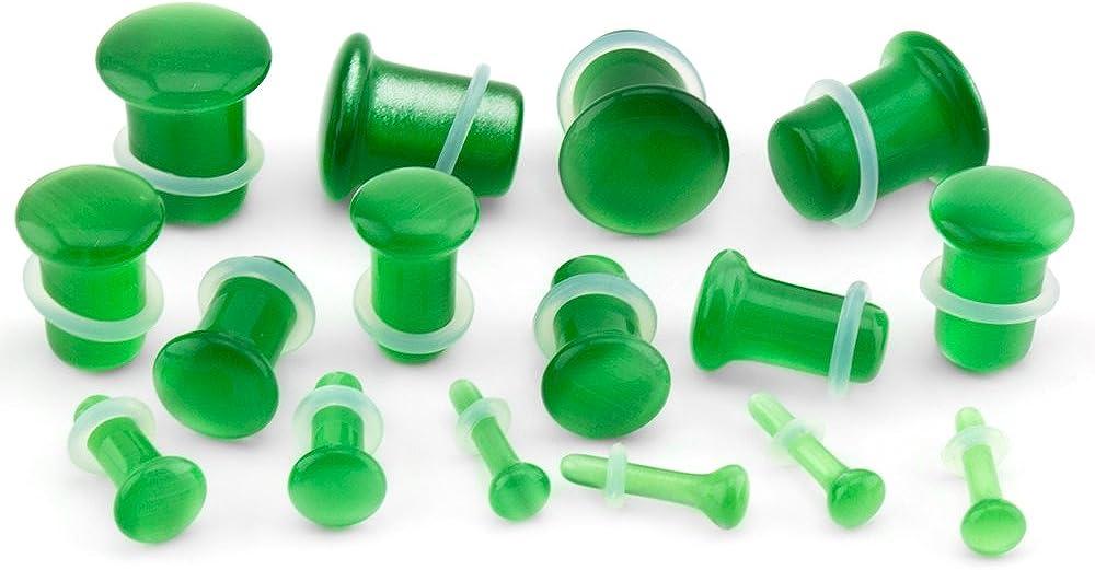 Urban Body Jewelry 8 Gauge (8G - 3mm) Single Flare Green Cat's Eye Glass Plugs (1 Pair)