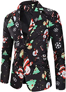 Men Christmas Suit Jacket Coat, Male Christmas Snowmen Candy Printed Long Sleeve Blazer Outwear