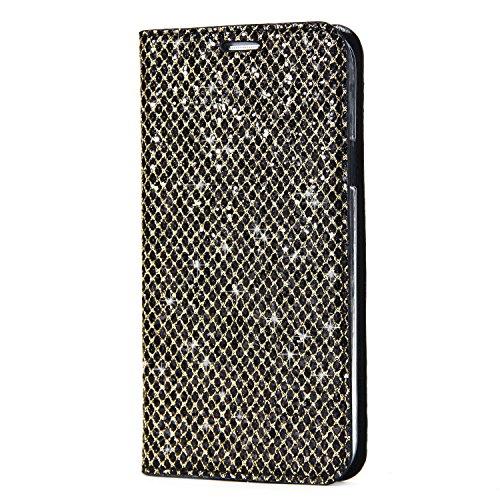 Homikon PU Leder Hülle Glänzend Glitzer Strass Schutzhülle Brieftasche Lederhülle Bookstyle Lanyard Handyhülle Standfunktion Kartensteckplatz Tasche Kompatibel mit Samsung Galaxy S5 - Schwarz