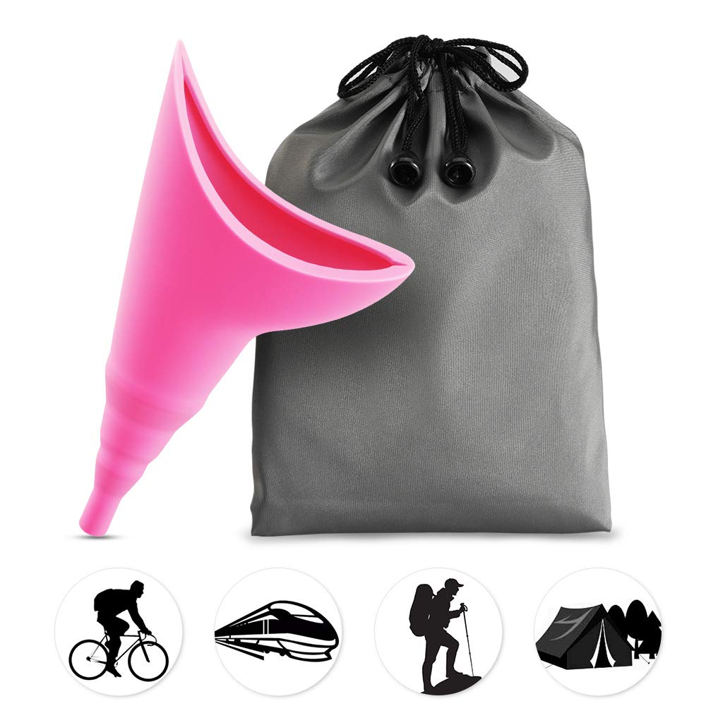 Syarme Female Urination Device,Portable Reusable Urinal Funnel with Extension Tube,Small Folding Storage,Suitable for Travel,Festivals,Camping,Traffic Jams,Etc,Includes Waterproof Bag,Waterproof Cup