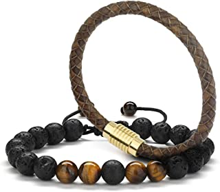 Braided Leather Mens Bracelet Gifts - 8mm Tiger Eye Lava Rock Stone Braided Leather Mens Bracelet, Stress Relief Anxiety B...