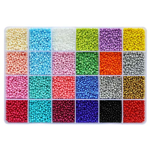 Size 8/0 Crafts Glass Seed Beads 3mm Pony Beads with Organizer Box for Jewelry Making (24 Assorted Multicolor Set, Total About 7440pcs)