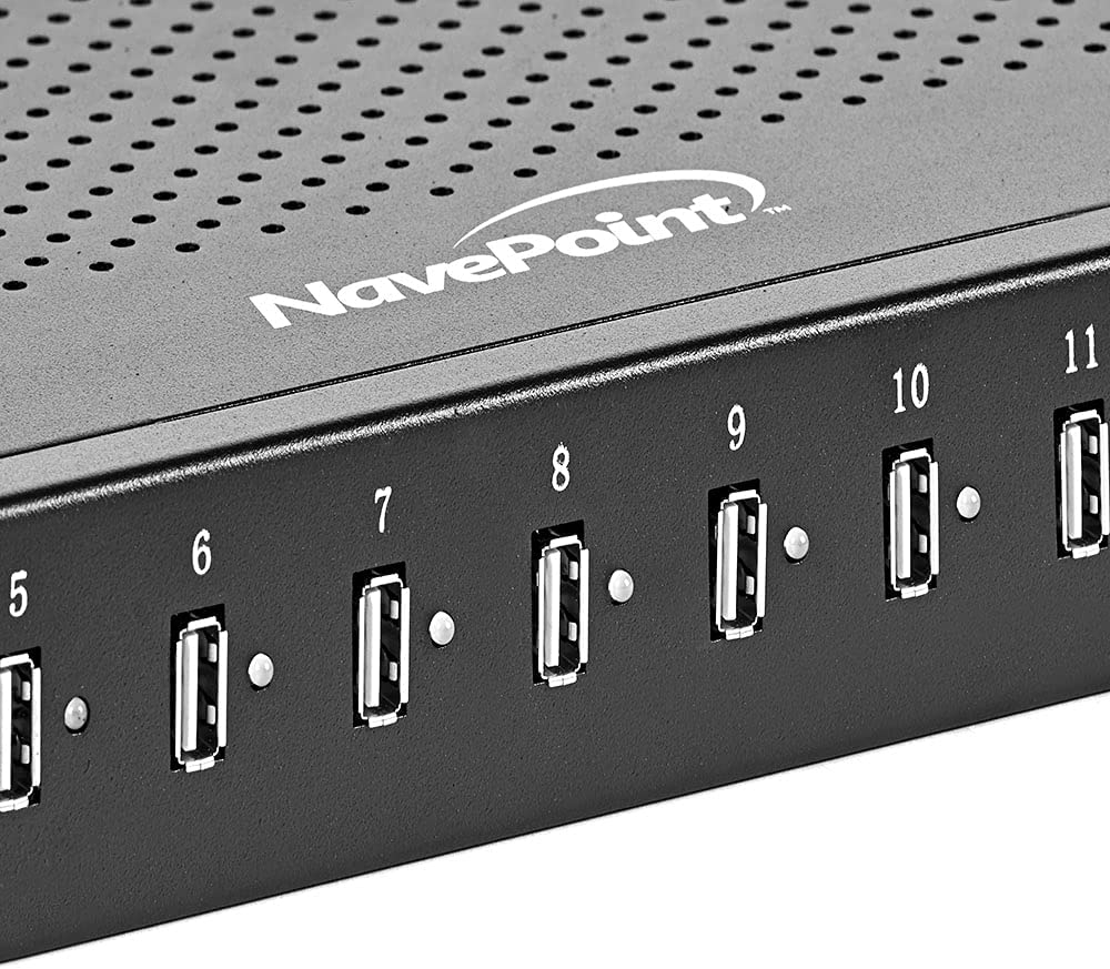 NavePoint 16-Port USB Charging Hub Station, Server Rack Charging Hub, Charging Cabinet Hub, 5V 48A / 200W USB Charger Output, USB 3 Hub with LEDs, High Speed Charging Hub for Multiple Devices, Black