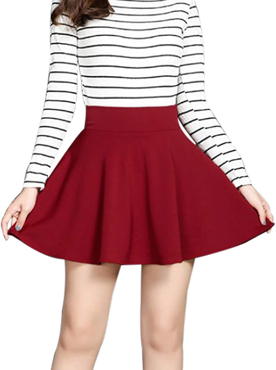 Women's Basic High Waist Stretchy A-line Flared Circle Swing Dance Party Casual Skater Short Skirt