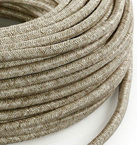 Câble électrique en tissu rond Rond Style Vintage avec revêtement coloré fils brut Canvas Lin clair beige H03VV-F section 3x 0,75pour lustres, lampes, abat jour, Design. Fabriqué en Italie