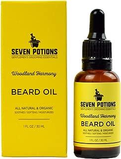 Seven Potions Premium Beard Oil for Men — Jojoba Oil Beard Softener to Nourish Skin, Hair, and Stop Beard Itch — All-Natural, Organic, Vegan, Cruelty Free — Woodland Harmony Scent (30ml)