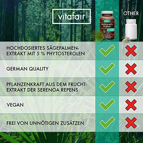 Sägepalmenextrakt - 280mg pro Tagesdosis - 180 Kapseln - 5% Phytosterole = 14 mg - Hochdosiertes Sägepalmextrakt - Vegan - Ohne Magnesiumstearat - German Quality
