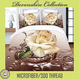 Devonshire Collection Microfiber/ 300 TC, 100% Cotton King Size 4PCs Bedding Set (Quilt Cover, Fitted Sheet, 2xPillow Case) Fits Mattress Up to 15'' Deep. Art No:MP60