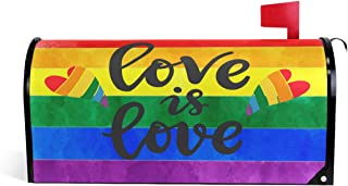 """Wamika Rainbow Gay Peace Pride Magnetic Mailbox Cover MailWraps, Love is Heart Mailbox Wraps Post Box Garden Yard Home Decor for Outside Standard Size 20.8""""(L) x 18""""(W)"""