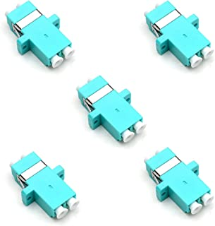 TEZONG LC Female Fiber Coupler LC to LC Fiber Optic Cable Adapter Connector Joiner Exterder Multimode Duplex OM3 Aqua 5 Pack