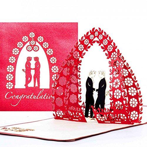 3D Wedding Card Mr & Mr – Congratulations Cards for Gay Wedding – hochwertige Pop-Up Hochzeitskarte zur schwulen Hochzeit - edle 3D Karte zur gleichgeschlechtlichen Ehe & Trauung