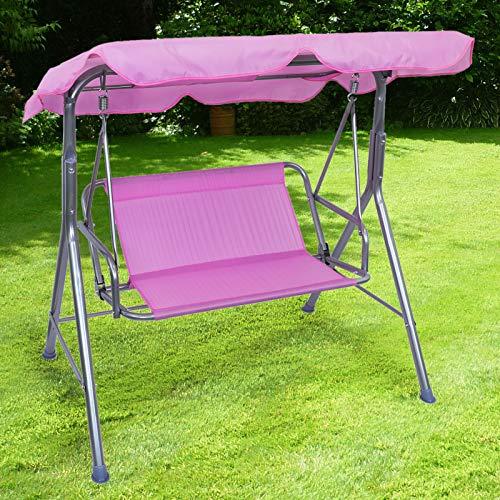 RAMROXX 38387 Kinder Hollywoodschaukel Gartenschaukel Outdoor Indoor 2 Sitzer Pink Rosa Silber