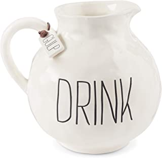 Mud Pie 45500009 Farmhouse Inspired Mottled Drink Ceramic Pitcher, One size, White