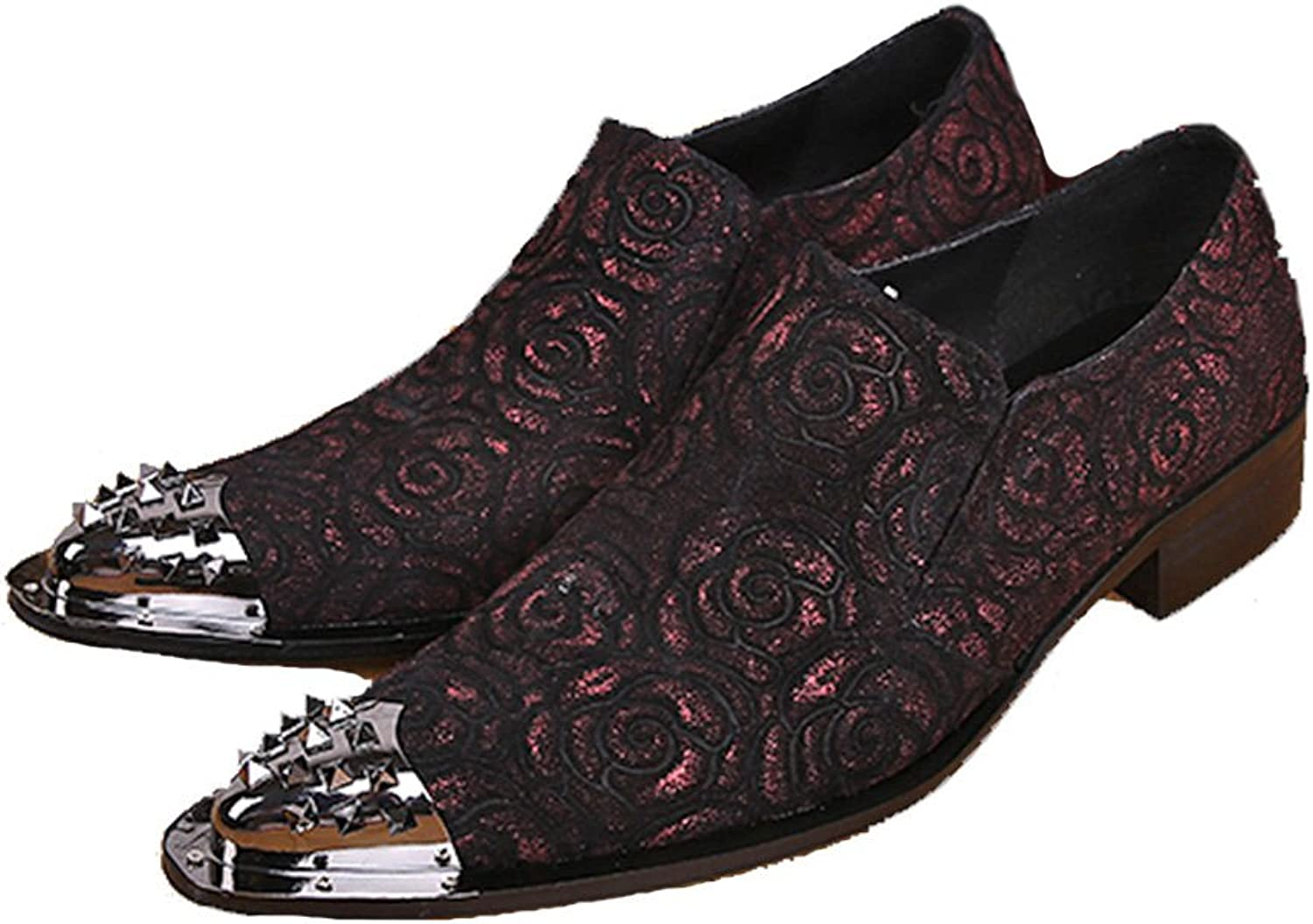Cover Plus Size 5-12 New Floral Print Genuine Leather Dress Loafers Mens shoes Black