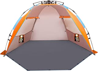 Oileus X-Large 4 Person Beach Tent خورشید پناهگاه - قابل حمل خورشید سایه چادر فوری برای ساحل با کیف حمل، مقاطع، 6 جک شن و ماسه، ضد UV برای کمپینگ پیاده روی ماهیگیری، ضد آب ضد باد، نارنجی