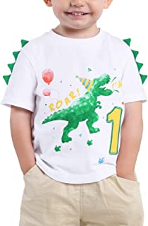 Bebé Niño 1er Camiseta Cumpleaños Dinosaurio 1 año Cumpleaño Manga Corta Tops