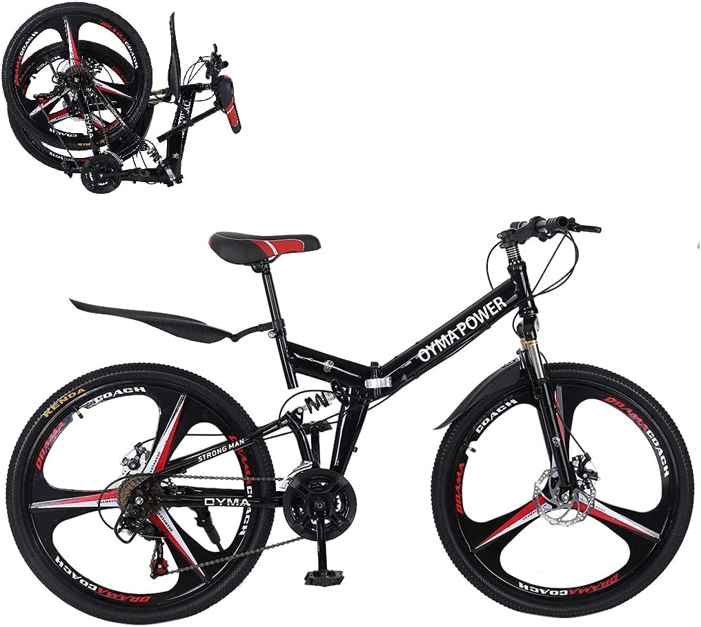 Beauty products 26In Folding Bicycle Mountain Year-end gift Bike - Disc Brakes Speed Dual F 21