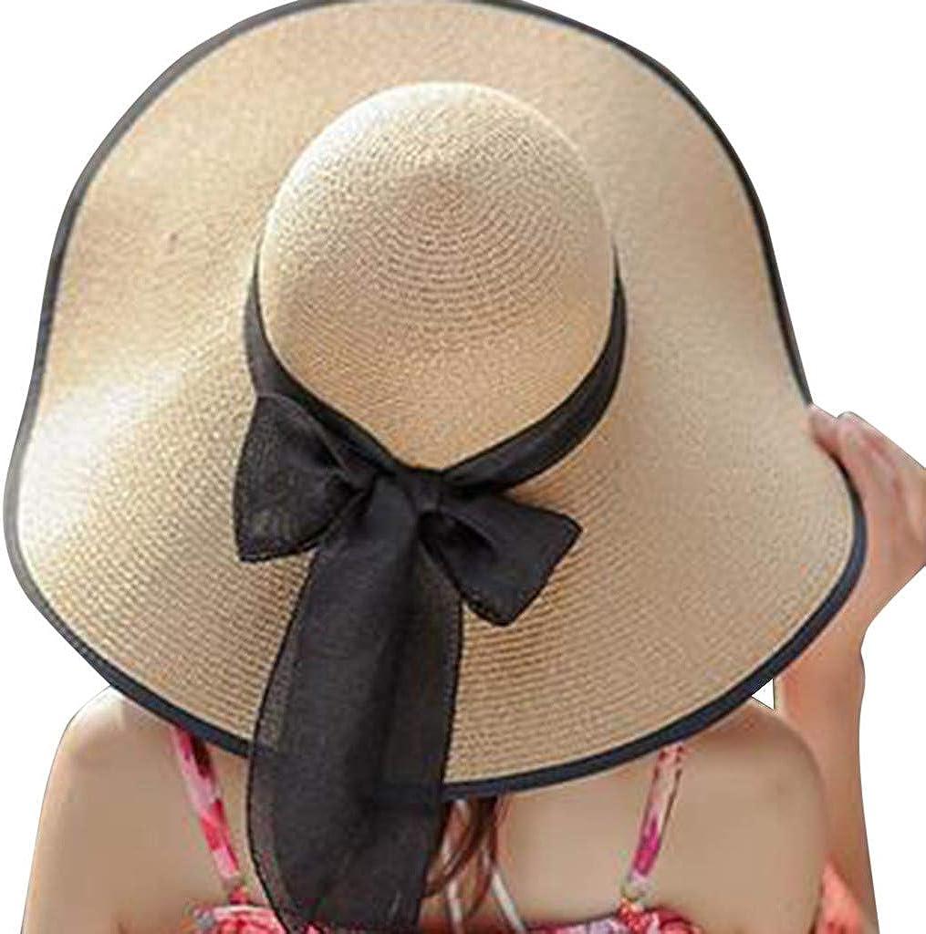 Women Beach Hats,HimTak New Bowknot Wide Brim Foldable Straw Hat Big Brim Sun Protection Hat