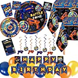 Serves 30 Complete Dart War Party Supplies Includes Plates,Napkins,Table Covers,Balloons, Happy Birthday Banner,Candles, Swirls, Balloons, Ideal for Dart War Birthday Theme Party Decor