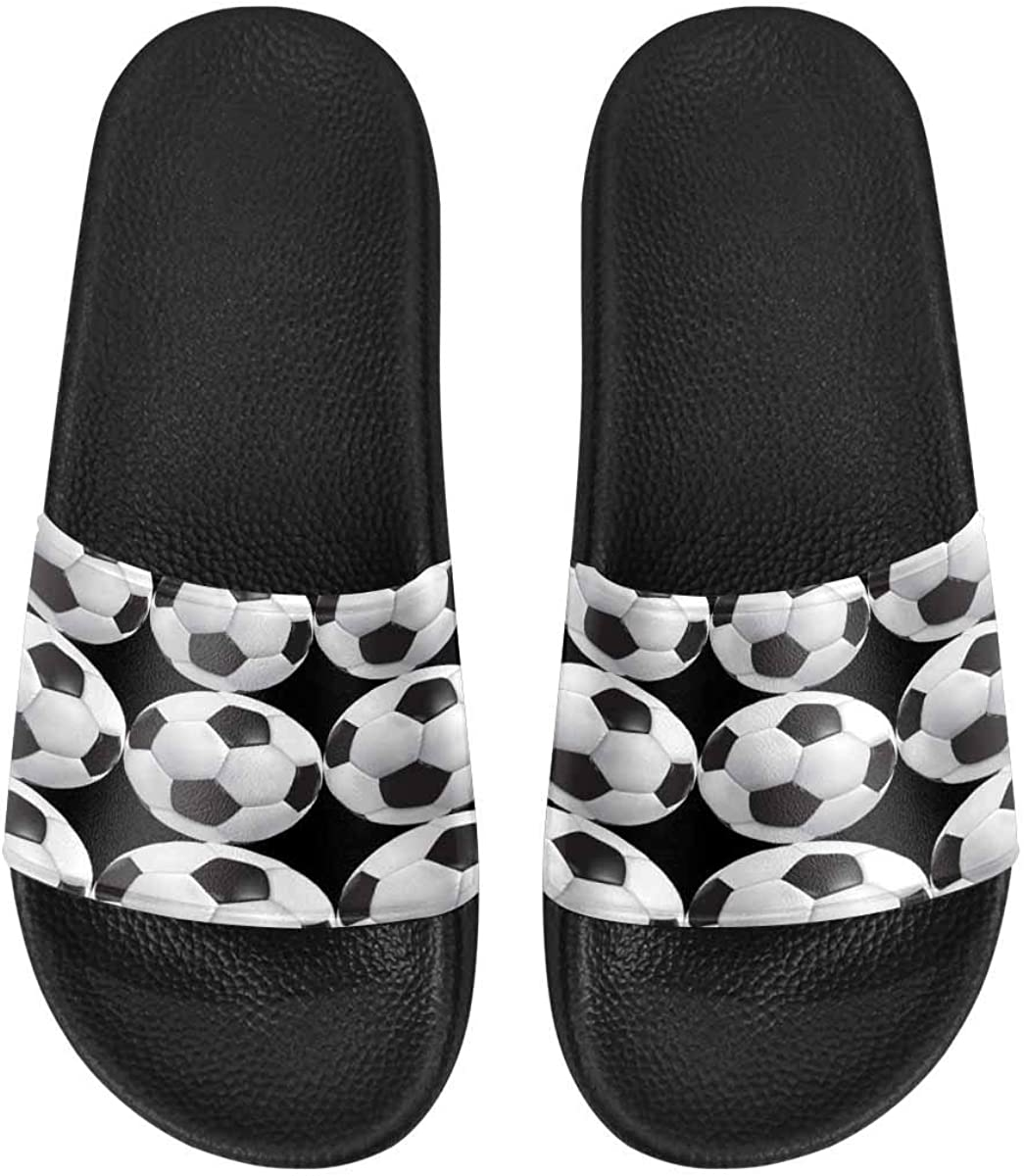 InterestPrint Women's Indoor Summer Slide Sandals Soccer Ball in Fire and Water