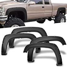 Free-Motor802 Fender Flares Fits 1988-1998 Chevy C1500 K1500 | Pocket Rivet Style 4PC PP Wheel Cover Protector