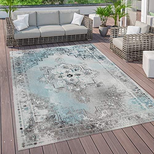 Paco Home Outdoor Teppich Terrasse Balkon Vintage Küchenteppich Orient Muster Türkis Grau, Grösse:160x220 cm