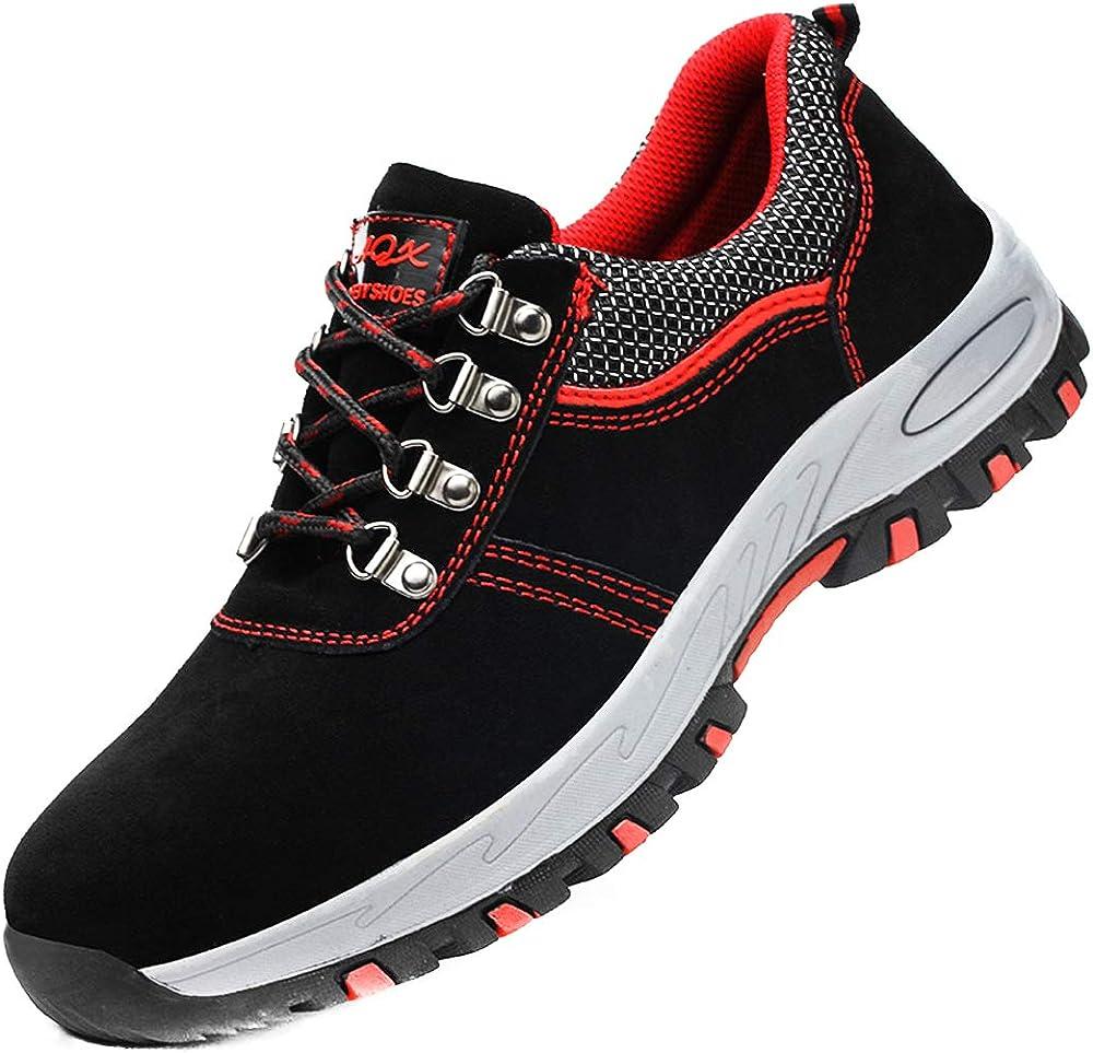 Dogeek scarpe antinfortunistiche da lavoro unisex con puntale in acciaio rosso-nero23